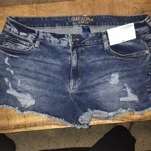 Arizona jean shorts, tags on